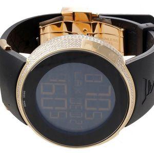 Orologio al quarzo digitale digitale da uomo al quarzo con cassa in diamanti di lusso con cinturino in gomma. Orologio YA114215 da uomo sportivo nero / oro