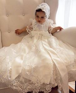 Lovely Baby Girl Abito da battesimo Abito da battesimo in pizzo 0-24month bianco Avorio con cappuccio