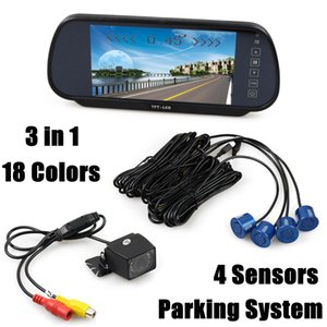 فيديو وقوف السيارات رادار 4 مجسات + 7 بوصة TFT LCD عرض سيارة مرآة مراقب + الأشعة تحت الحمراء للرؤية الليلية سيارة كاميرا الرؤية الخلفية