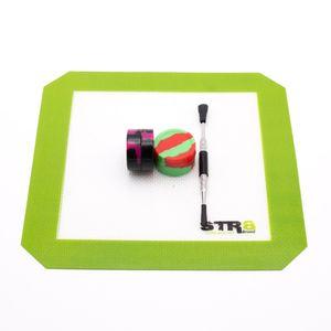 Quadratische trockene Kräutermatten aus Silikonkautschuk mit Silikonbehälter-Kasten Silikonkissen-Satzsatz Edelstahl-Dabber-Werkzeugwachswerkzeug