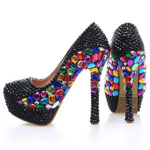 Sapatos de festa de casamento strass preto dedo do pé redondo stiletto calcanhar cinderela prom cristal boate shoes handmade nupcial dress bombas