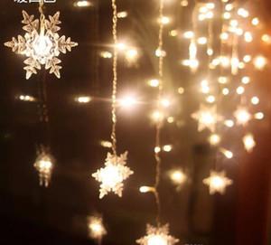 4 м 100led 18 шт. Снежинка LED занавес строка огни лампы сад Рождество свадьба потолочные украшения огни AC110V / 220 В