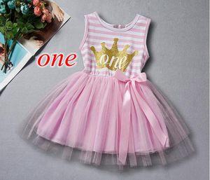 Filles anniversaire robe première deux anniversaire princesse vêtements pour enfants or lettre couronne bébé filles tutu robe avec arc anniversaire enfant en bas âge tenue