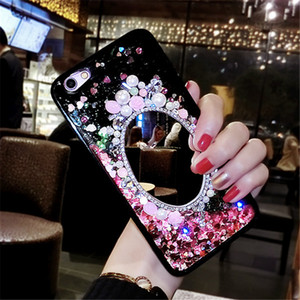 Para iPhone 7 6 6S 8 Plus Glitter Quicksand Cover Phone Back Casos Dynamic Liquid Mirror Rhinestone Bling Flowers Fundas