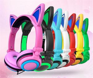 Cuffie auricolari da gioco più nuove con luce a LED Pieghevoli lampeggianti Cuffie auricolari a forma di orecchio per PC portatile