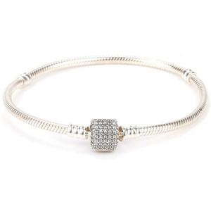 Bracciale in cristallo placcato argento sterling 925 con zirconi chiari adatti per gioielli in stile americano europeo perline regalo di Natale