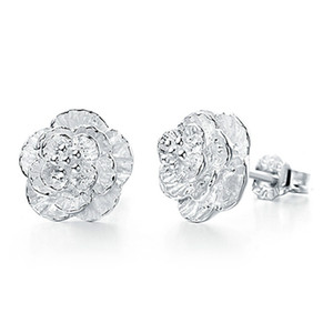 925 sterling silver woman earring wholesale clear 3 flower stud earrings wedding exquisite vintage fine charms