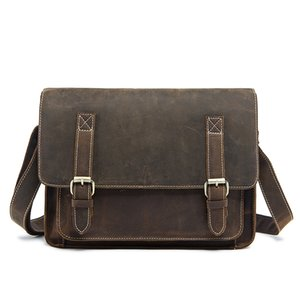 retro leather cover bag 1055 Top layer cow leather one shoulder day packs OEM available