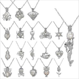 Collana ciondolo cage 2018 new love wish perla naturale con collana di perle di ostrica design moda collana di catene cave clavicola cave all'ingrosso