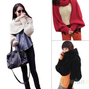 Al por mayor- estilo de la manera de las mujeres bufanda sólida con manga Crochet Knit largo abrigo suave bufandas del mantón de la novedad 1EKJ