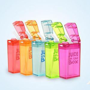 أطفال سترو كوب عصير زجاجة عصير في مربع مانعة للتسرب أكواب عصير الطفل الليمون زجاجات الحليب المياه OOA2344