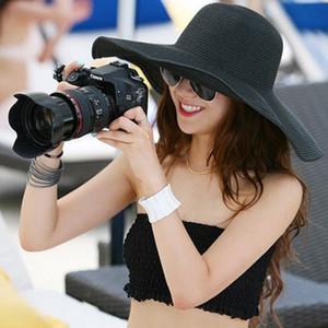 الجملة- 2016 الصيف المرأة طوي واسعة كبيرة بريم شاطئ أحد قبعة سترو شاطئ كاب للسيدات القبعات بنات عطلة جولة قبعة