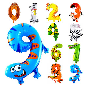 Regali 1pcs 16 pollici Party Animal Numero Foil Palloncini gonfiabili bambini Matrimonio felice compleanno decorazioni Air Balloon bambini