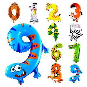 1шт 16 дюймов Животного Номер Фольга Надувные шары Дети Свадьба С Днем Рождения украшения Воздушный шар Детские подарки