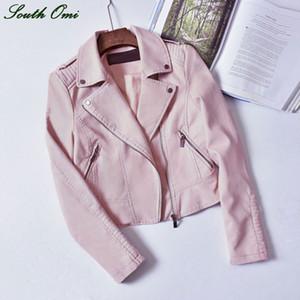 Venta al por mayor- 2016 chaquetas de cuero rosa negro chaqueta de motocicleta PU Blazer Blazer abrigo con cremallera para bombarderos Blouson Cuir Increíble Pastel