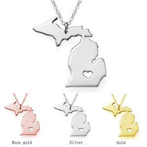 Michigan Karte Edelstahl-Anhänger Halskette mit Love Heart USA State MI Geographie Karte Halskette Schmuck für Frauen und Männer