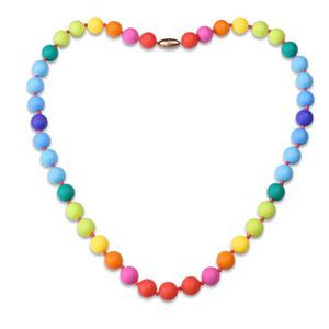 Elegante 31.5 '' Longitud Rainbow BPA Free Silicone 15mm Bead Baby Dentición collar para mamá para usar envío gratis
