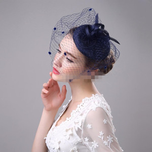 Flor Feather Hot Sale Azul Preto Bege Birdcage Wedding Net nupcial fascinador Rosto Veils com Grampos 4 cores
