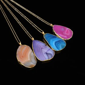 Natural Stone Pendants Necklace Women Multicolor Natural Stone Necklace Pendants Gemstone Pendants Gold Plated Chains 4 Colors