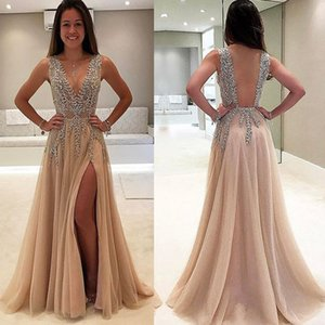 2017 Crystal Prom Dresses Beading Sequins Side Slit Backless Champagne A Line Tulle Floor Length Evening Dresses Gowns