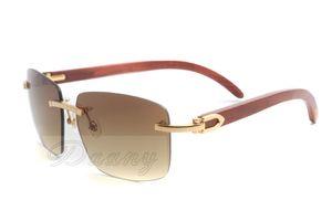 2019 nuevas gafas de sol cuadradas de alta calidad, gafas-A 3.524.012 estilo de moda, gafas de sol de espejo de las piernas de madera natural, la entrega gratuita