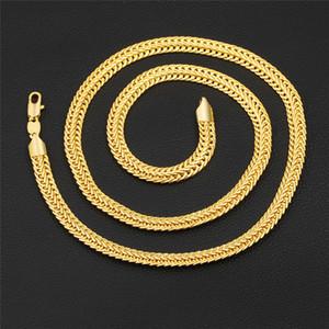 18 K Réel Plaqué Or 6mm 26 Pouces Serpent Os Chaîne Necklac Hommes Bijoux Accessoires De Mode Hommes Colliers Beau Cadeau