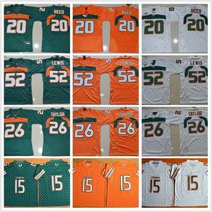 Camisas de futebol dos homens furacões faculdade 15 Brad Kaaya Ed Reed 20 Sean Ray 52 Taylor 26 Lewis Reggie Wayne Jerseys