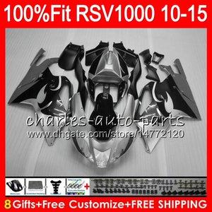 Injection Pour Aprilia RSV1000R 2010 2011 2012 2013 2014 2015 77NO43 Argent noir RSV1000 R Mille RSV 1000R RSV1000 10 11 12 13 14 15 Carénage