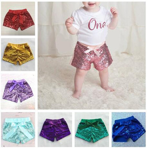 2017 New Arrive Kids Lilac Lentejuelas Shorts dorados Bebés Púrpura Lentejuelas Shorts la primera lentejuela Corto primer cumpleaños Glitter lavanda Shorts