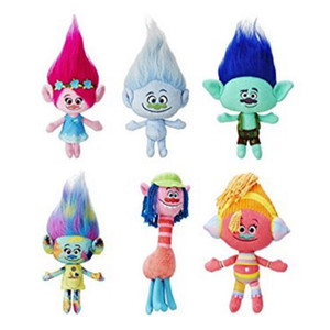 2016 Presentes de Natal Toy Filme Trolls Plush Poppy Filial Trolls Plush Stuffed para crianças (6pcs / Lot / Tamanho 23-33cm) -D006