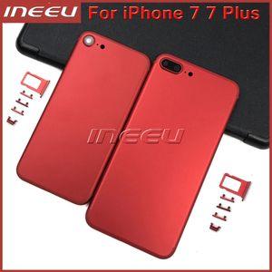 جديد كامل اللون الأحمر الإسكان للآيفون 7 7Plus الألومنيوم معدن البطارية الباب الخلفي الغطاء الخلفي استبدال ماتي الأسود