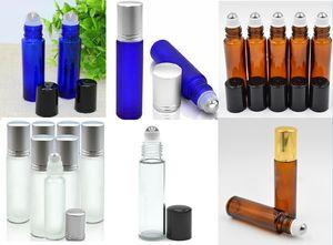 Garrafas de rolo 10ml portátil Mini Roll On Frascos de vidro fragrância do perfume âmbar azul claro de vidro fosco com Staniless aço bola em stock