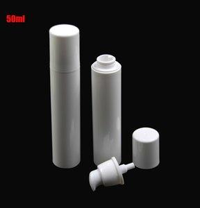 10pcs / lot Pur plastique blanc emballage cosmétique Airless Pump Bottle 50ml Vide Lotion crème émulsion Shampooing Container SPB88