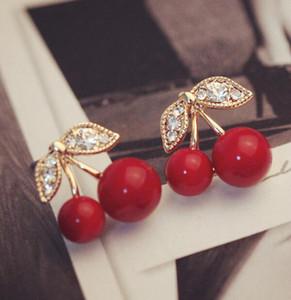 Stud Küpe Yeni Moda Güzel Kırmızı kiraz küpe kadın takı diamante Kırmızı Kiraz Kulak Stud Ring için yaprak boncuk damızlık küpe yapay elmas