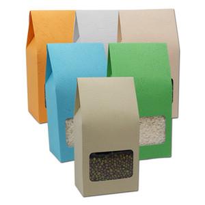 8 * 15.5 + 5 cm Kabartmalı Kraft Kağıt Kare Alt Çanta Kutusu Körükler Cebi Cebi Oragan Çanta Ile Temizle Pencere Hediye Gıda Çikolata Şeker Ambalaj Kılıfı