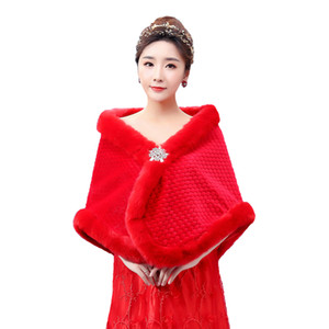 Wholesale Pur Shawl for Bridal Real Pictures Red Cloak for Winter Wedding 2018 New Design Jacket