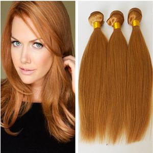# 27 Honey Blonde Tramas de cabello humano 9A Paquetes de cabello humano brasileño recto y sedoso Strawberry Blonde Hair Weaving Machine hizo tramas dobles