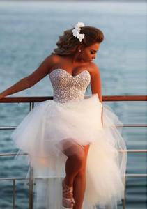 Modern Pearl High Low Short Wedding Dresses Sweetheart Tulle Romantic Informal Reception Bridal Gowns Outdoor Custom Made Wedding Dress