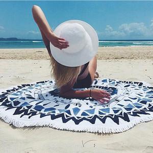 Newest Blue Chiffon Round Beach Towel Yoga Mat Bath Towel Decor Geometric Printed Bath Towel 150*150cm Summer Style Shawl With High Quality