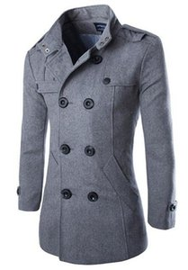 Men's autumn winter in Europe and the new business fashion double-breasted long pure color woolen cloth trench coat   M-3XL
