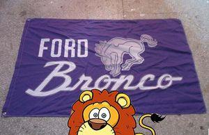 Bandera de la exposición del automóvil de Ford Bronco, bandera del logotipo de la marca del automóvil, tamaño 90X150CM, 100% poliéster