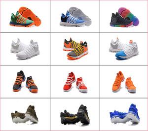 Homens Kevin Durant 10 Oreo Ainda Aniversário orange azul Sapatos de Basquete Sneakers Sapatas Dos Homens do Esporte KD 10 s Bounce Airs Almofada Tênis Esportivos