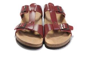 2017 новый стиль известный бренд Аризона с оригинальным брендом Box мужские женские плоские сандалии повседневные две пряжки летние пляжные тапочки из натуральной кожи