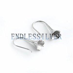 Fishhook Earring Settings 둥근 진주를위한 빈베이스 925 스털링 실버 주얼리 진주 파티를위한 결과