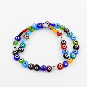 Perle di vetro di tutte le dimensioni Evil Flat tondo Perle di vetro di colore misto 6/8/10 / 12mm Multicolore Ojo Evil Eye Colorato