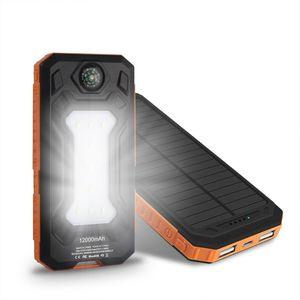 NOVA À Prova D 'Água Solar Power Bank 20000 mah Dual USB Li-Polímero Carregador de Bateria Solar Powerbank Viagens para todo o telefone