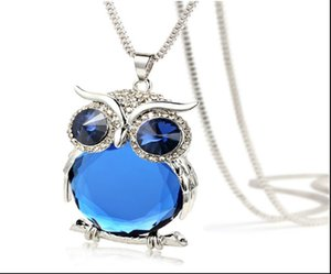 women Popular fashion accessories new Necklaces Lady Size gem pendant owl necklace Silver 6PCS Lot Free Shipping