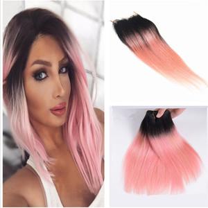 Heißer Verkauf 8A Brasilianisches Haar 2 Ton 1B # Rosa Ombre Glattes Haar Bundles Mit lace closure Ombre Spitzeschliessen Mit Haarverlängerungen