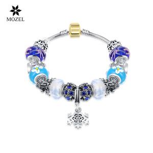 Wholesale MOZEL 925 Silver Charm Bead European Charm Bracelets & Bangle for Women Snow Pendant Bead Bracelet Free Shipping