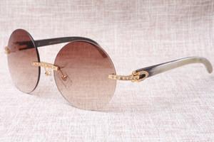 Новая мода солнцезащитные очки черный белый рог буйвола ретро ретро без рамки ретро высокого качества очки T3524012 алмазов очки 58-18-140 мм